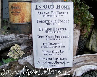 House Rules, Religious Signs, Word Art, Wall Art, Scripture Art, Rustic Handpainted Signs, Wood Sign, Inspirational Sayings, Typography