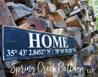 Signs, Custom, Coordinates, Latitude, Longitude, Rustic, Coastal Decor, Beach, Nautical, Handpainted, Housewarming Gifts