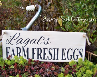 Eggs, Personalized Chicken Coop Signs, Custom Signs, Wood Signs, Farm Fresh, Fresh Eggs, Farmhouse Decor, Handpainted, Rustic Signs