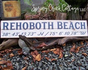 Hand Painted Wood Signs, Custom, Coordinates, Latitude, Longitude, Coastal Decor, Beach, Nautical, Handpainted, Housewarming Gifts