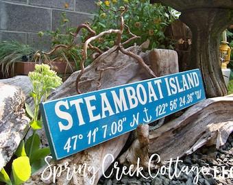 Sign, Custom, Coordinates, Latitude, Longitude, Coastal Living, Nautical, Coastal Chic, Handpainted, Beach, Housewarming Gift