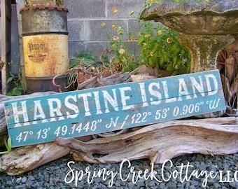 Signs, Custom, Coordinates, Latitude, Longitude, Coastal Decor, Beach, Nautical, Place Sign, Handpainted, Housewarming Gifts