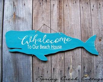 Wood Cutouts, Whalecome To Our Beach House, Rustic, Nautical, Wood Sign, Home Decor, Coastal Living, Beach, Whale Silhouette