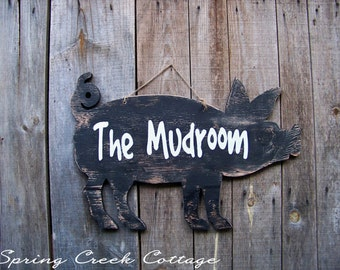 Wood Signs, Mudroom, Handcrafted, Rustic, Pig Silhouette Sign, Farm, Farmhouse Decor, Handpainted, Rustic Sign, Handpainted signs