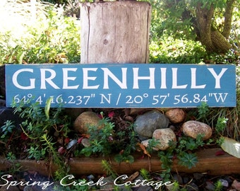 Handpainted Wood Signs, Custom, Coordinates, Latitude, Longitude, Cottage, Farmhouse Decor, Farm, Housewarming Gifts