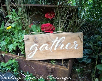 Gather, Inspirational Sayings, Handpainted, Fall Decor, Autumn Decor, Wood Signs, Rustic, Pallet Signs, Home Decor, Farmhouse Decor