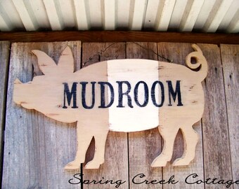 Pigs, Rustic Farm Animal Signs, Unique Wood Signs, Mudroom, Handcrafted, Rustic, Pig Silhouette Sign, Farm Decor