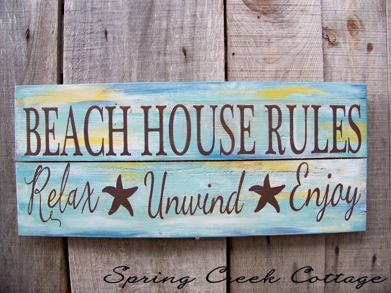 Coastal Decor Coastal Signs Uniquely Handpainted Signs Beach House Rules Beach Decor Coastal Decor Hand Painted Wood Sign Nautical