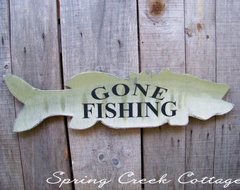 Gone Fishing, Signs, Fishing Lodge Decor, Lake House Decor, Fish, Rustic, Home Decor, Lake, Cabin, Home & Living, Wall Decor, Gifts for Dad