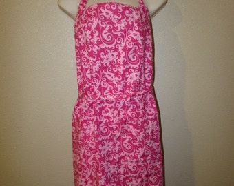 Large Adult Pink and white Apron    (# 436 )
