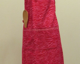 Small Red and Pink Adult Apron    (# 420 )