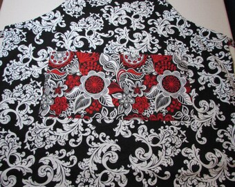 Small Red White and Black Adult Apron    (#654)