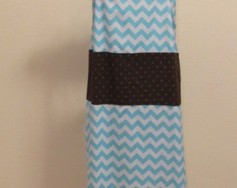 Large Adult Blue and White Chevrons Apron    (# 439 )