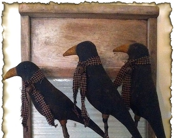 ePattern~Primitive Crows on Sticks, Crock Fillers, Pokes Sewing Pattern