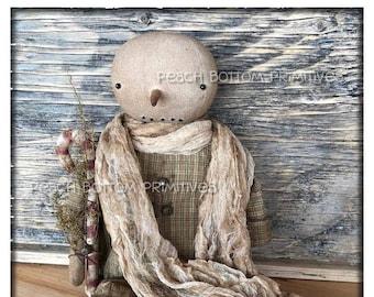 ePattern~Primitive Winter Snowboy Snowman Doll Sewing Pattern, PDF File Instant Download Christmas