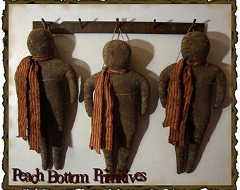 ePattern~Primitive Grungy GIngerbread Doll, Christmas Winter