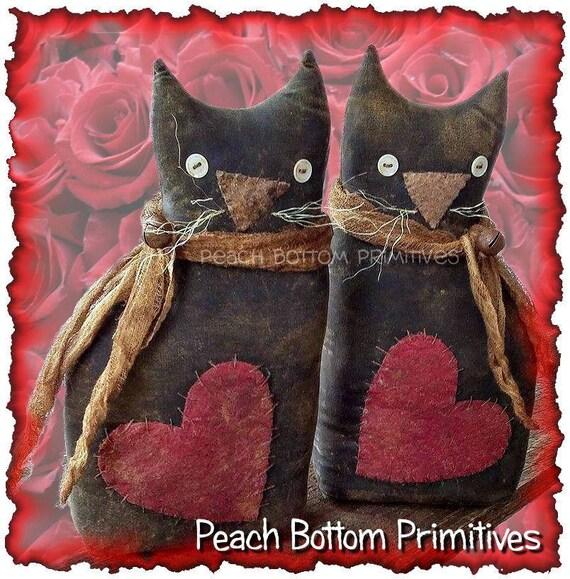 Mailed Paper Patternprimitive Valentine Kitty Cat Sitter Doll Etsy