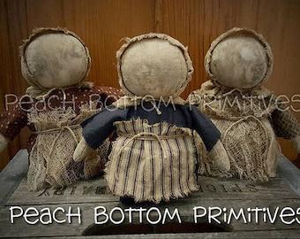 ePattern~Primitive Lil Prairie Stumpy Doll Sewing Pattern, Instant Download, PDF File