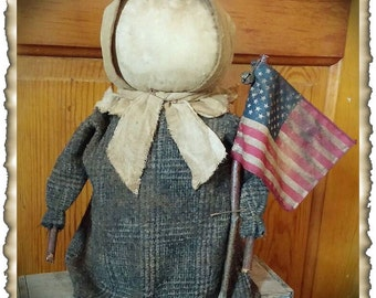 ePattern~Primitive Grungy Prairie Stump Doll & Flag~Americana Sewing Pattern PDF File, Instant Download