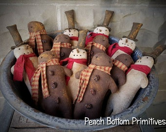 ePattern~Primitive Christmas Winter Snowman~Gingerbread man Doll Ornies Sewing Pattern PDF File Instand Download