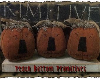 ePattern~Primitive Fall/Halloween Lil Pumpkin Jack o Lantern Fellas