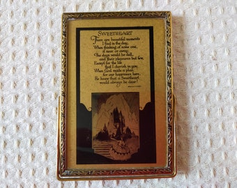 Emma Koehler Mirror ~ 'Sweetheart' Poem on reverse ~ Original Box ~ 1930s ~ Boudoir or Handbag Makeup/Cosmetic ~ Collectors Item ~ Ex cond