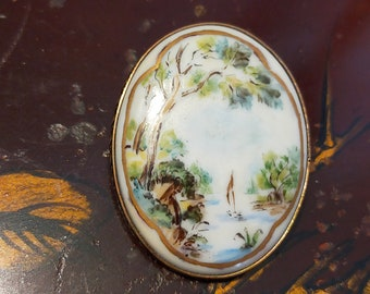 Vintage French Brooch porcelain ~ handpainted~ gift for mother ~ signed ~ perfect for vintage scarf or blouse