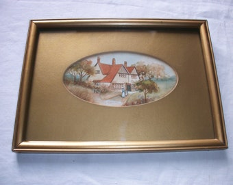 English Watercolour C1910 ~ Arts & Crafts House ~ Antique Vintage Painting ~ Aquarelle ~ Edwardian Frame ~ Wall Art Picture ~ Wedding Gift