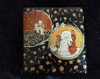 Antique Japanese Box ~ Papier Mache ~ Gold Decor ~ Children Playing with Snowman ~ Urushi ~ Lacquer Ware ~ 1880~ Meiji ~ Black & Red ~VGC