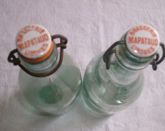 Pair French Beer Bottles c1920s ~ Soda Tonic Water ~ Ceramic Wire tops ~ Limoges Bar ~  Kitchenalia ~ Kitchen decor ~ Brewiana Collectible