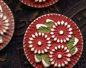 Cherry Red Pressed Celluloid Flower Buttons Matched Set Of Three 1950s Floral Shank
