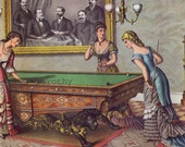 Brunswick Pool Table Halstead Packers Vintage 1885 Victorian Era Advertisement Poster To Frame