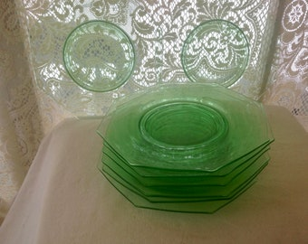 Imperial Glass Double Handled Green Glass Sandwich Plate