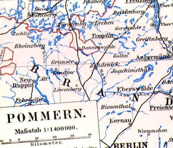 Pomerania Germany Map 1903 Vintage Edwardian Steel Engraving Etsy