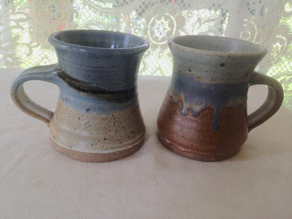 Grey Blue Brown Pottery Mugs Two Handmade In Maine USA By Hippies 1980s Vintage Wiring Harness Of Maine on