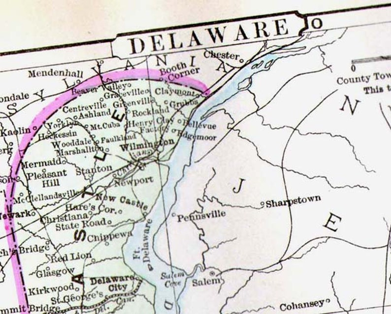Map Delaware USA United States Map 1896 Victorian Antique Copper Engraving on