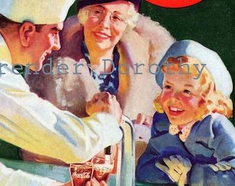 Coca Cola Ad Soda Fountain Pure Refreshment Vintage Original 1937 Coke Advertisement To Frame