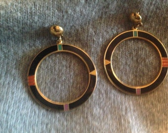 Laurel Burch Earrings ETERNITY Post Stud RARE Black Cloisonné Rainbow Jewelry Vintage Signed Teal Purple Orange Yellow Gold