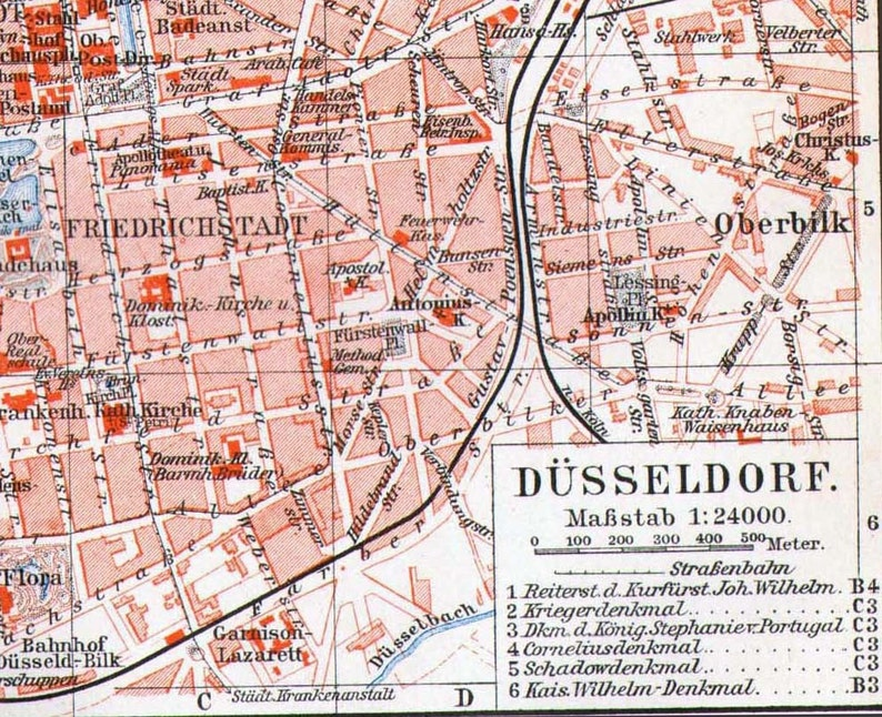 Map Of Germany Showing Dusseldorf.Map Dusseldorf Germany 1906 Vintage Edwardian Era Steel Engraving Cartography To Frame