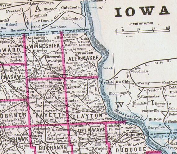 Mapa estado de los E.e.u.u. de Iowa cobre antiguo grabado arte | Etsy