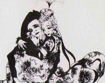 Manon Lescaut Lover's Flight By Alastair Original 1930s Puccini Opera Print To Frame Black & White