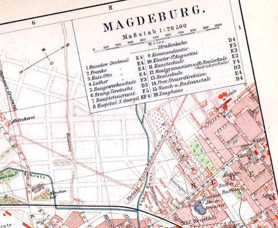 Magdeburg Germany Map 1903 Vintage Edwardian Steel Engraving Etsy