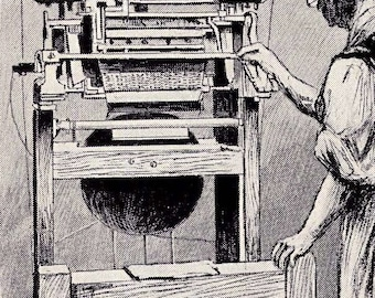How Knitting Machines Work Early Invention Vintage  Illustration To Frame 1928