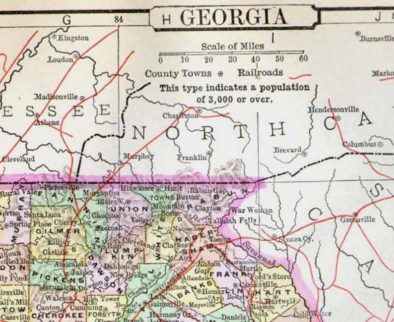 Georgia Map United States USA 1896 Victorian Vintage Antique Copper  Engraving Cartography To Frame