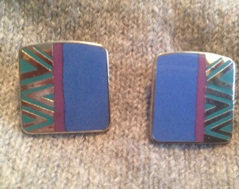 Laurel Burch Blue NAITO Cloisonne Post Earrings Vintage Jewelry 1980s Silver