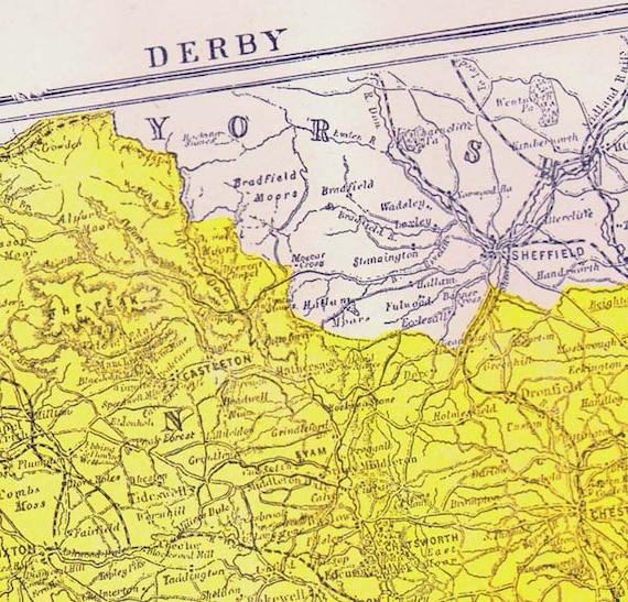 Derby County England Map Antique Copper Engraving Vintage Etsy
