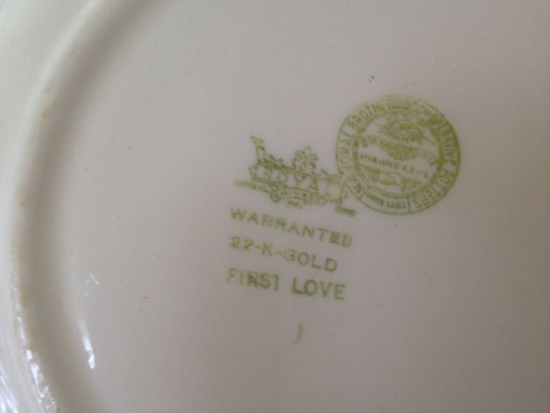 Royal China First Love 22k Gold Salad Plate Set 6 Bowls Vintage Floral China USA 1940s Shabby Chic Kitchen