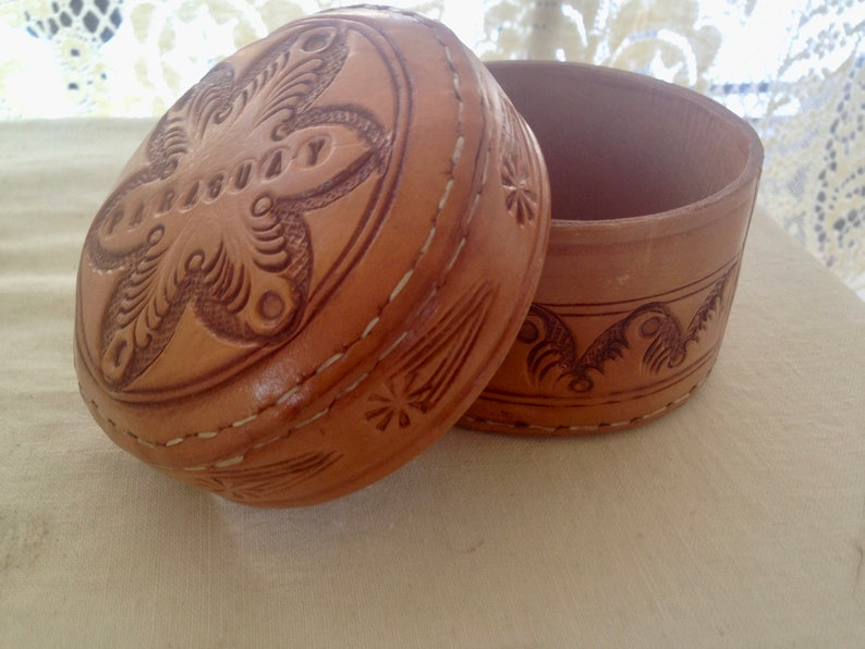 Tooled Leather Box Steer Hide Paraguay 1970s Jewelry Sewing Office Supplies Handmade