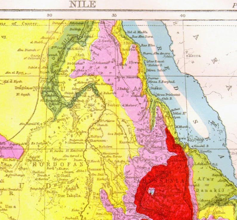 Nile River Africa Map Antique Copper Engraving Vintage Etsy