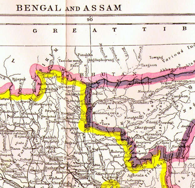 India Map Asia.Bengal Assam India Map Antique Copper Engraving Vintage Asian Etsy